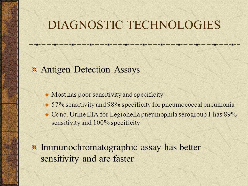 DIAGNOSTIC TECHNOLOGIES Antigen Detection Assays Most has poor sensitivity and specificity 57% sensitivity and 98% specificity for pneumococcal pneumo