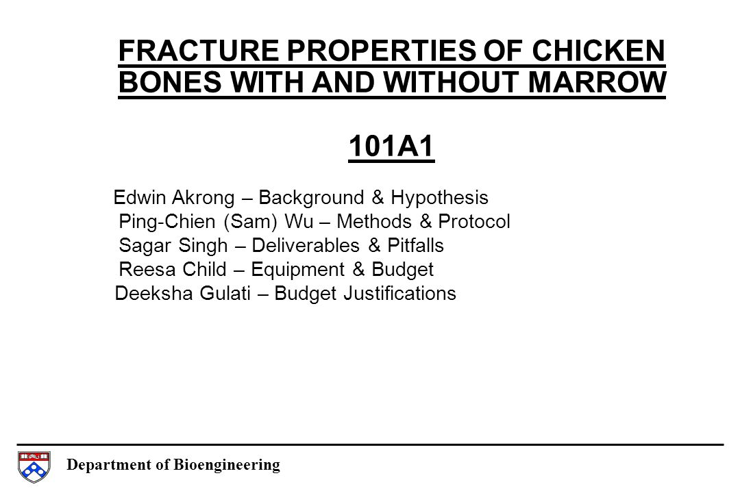 Department of Bioengineering FRACTURE PROPERTIES OF CHICKEN BONES WITH AND WITHOUT MARROW 101A1 Edwin Akrong – Background & Hypothesis Ping-Chien (Sam) Wu – Methods & Protocol Sagar Singh – Deliverables & Pitfalls Reesa Child – Equipment & Budget Deeksha Gulati – Budget Justifications
