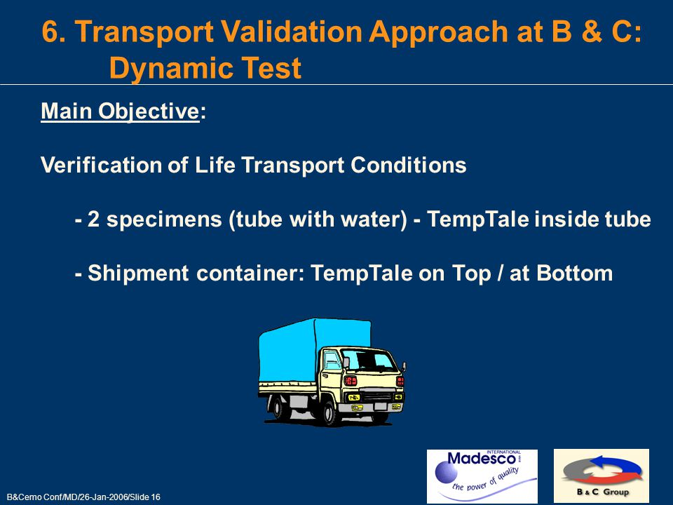 B&Cemo Conf/MD/26-Jan-2006/Slide 16 6.
