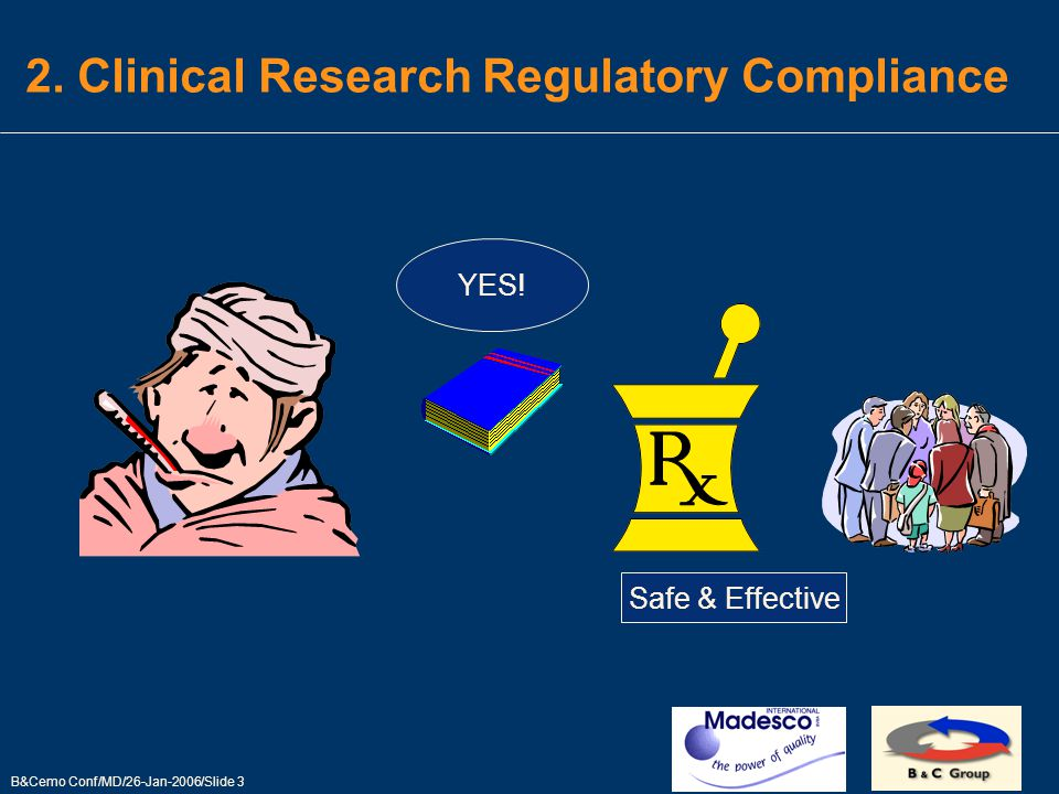 B&Cemo Conf/MD/26-Jan-2006/Slide 3 2. Clinical Research Regulatory Compliance YES! Safe & Effective