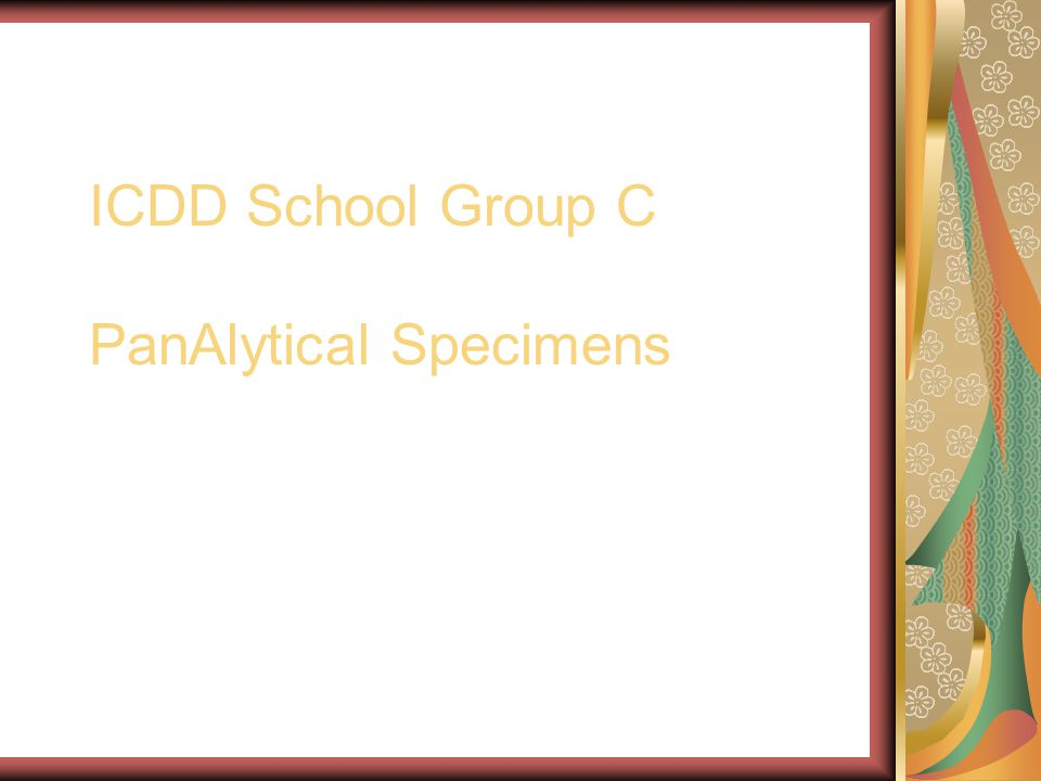 ICDD School Group C PanAlytical Specimens