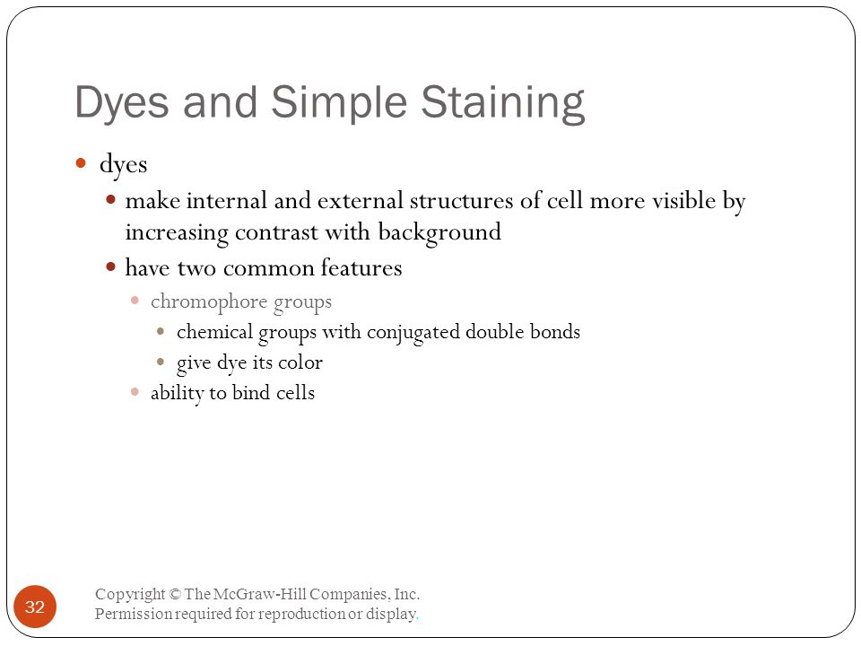 Dyes and Simple Staining Copyright © The McGraw-Hill Companies, Inc.