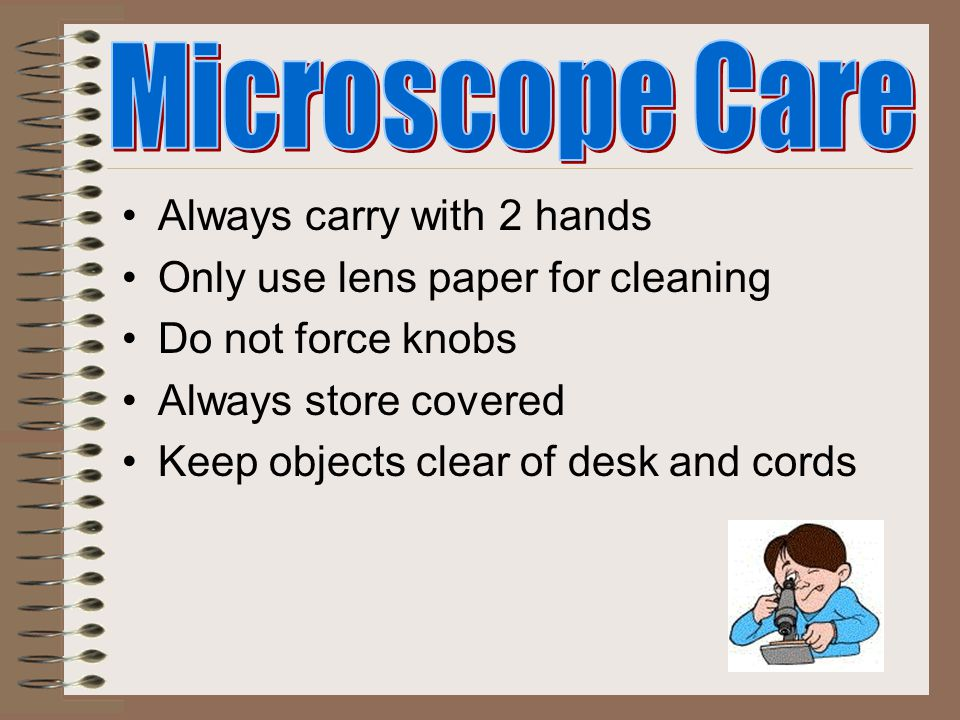 Introduction to the Microscope Care Parts Focusing Drawing Making a Wet Mount Staining Clean Up Trouble Shooting