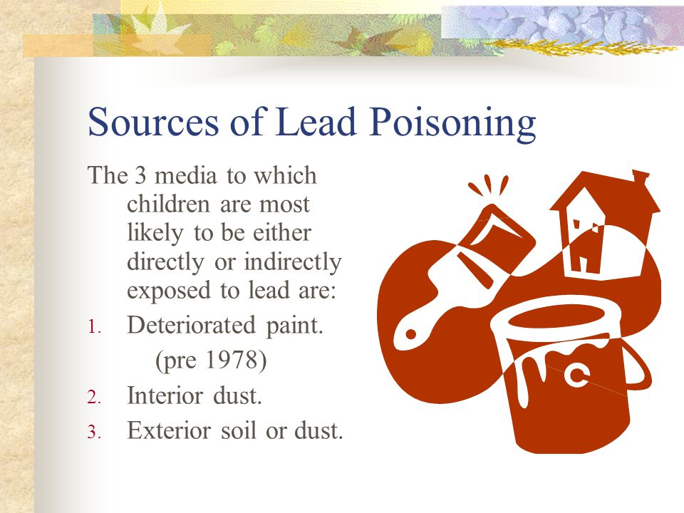 Sources of Lead Poisoning The 3 media to which children are most likely to be either directly or indirectly exposed to lead are: 1.