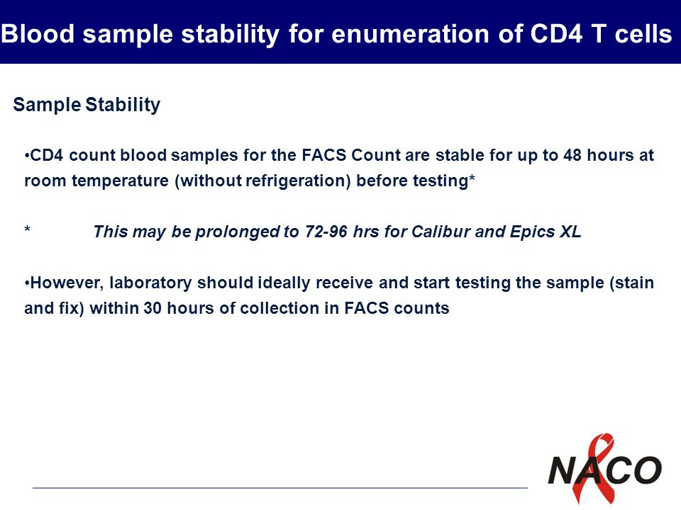 P15 26 Specimen handling and transport Maintain and transport specimens at the recommended temperature for that test (2 to 8 º C for HIV antibody testing and room temperature 22 to 25º C for CD 4 cell estimation) Do not refrigerate blood sample to be used for CD4 cell estimation.