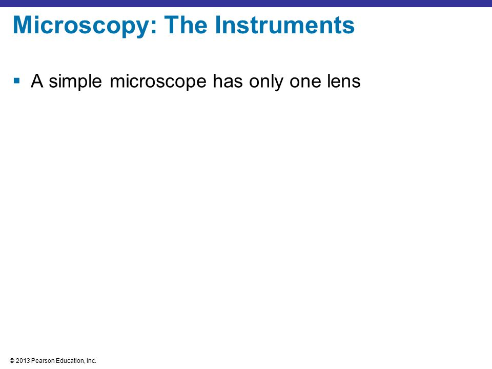 © 2013 Pearson Education, Inc.  A simple microscope has only one lens Microscopy: The Instruments
