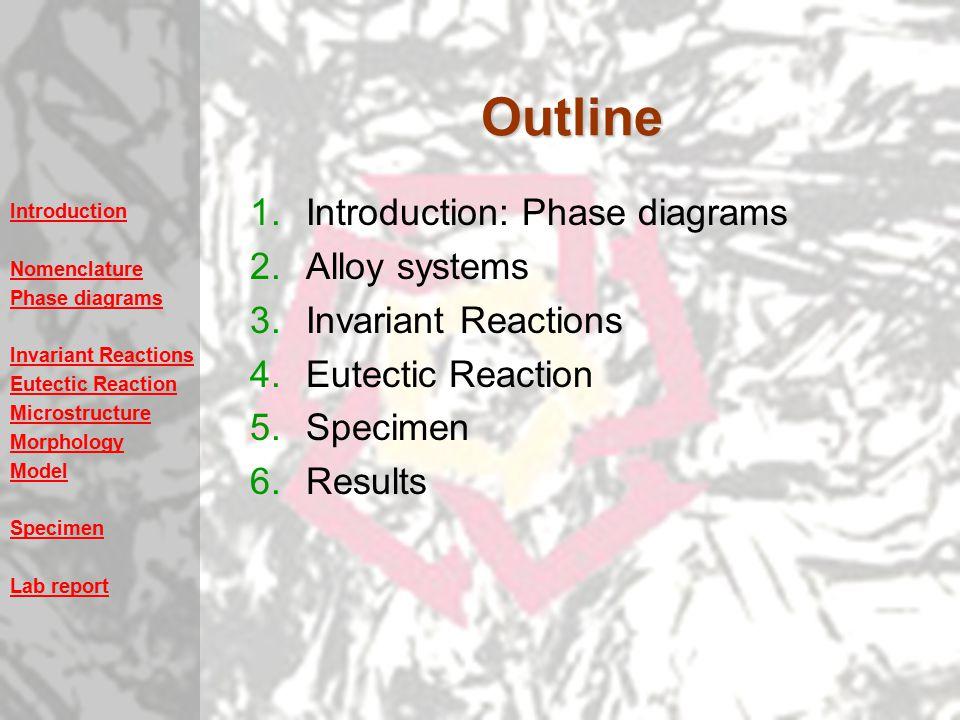 Introduction Nomenclature Phase diagrams Invariant Reactions Eutectic Reaction Microstructure Morphology Model Specimen Lab reportOutline 1.Introduction: Phase diagrams 2.Alloy systems 3.Invariant Reactions 4.Eutectic Reaction 5.Specimen 6.Results