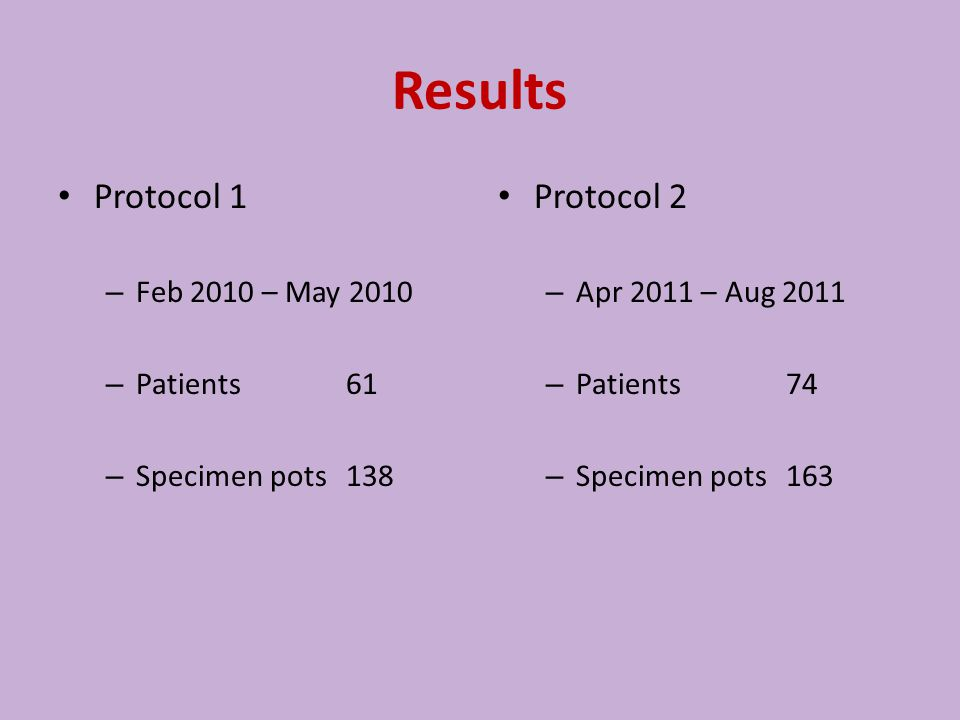 Results Protocol 1 – Feb 2010 – May 2010 – Patients61 – Specimen pots138 Protocol 2 – Apr 2011 – Aug 2011 – Patients74 – Specimen pots163