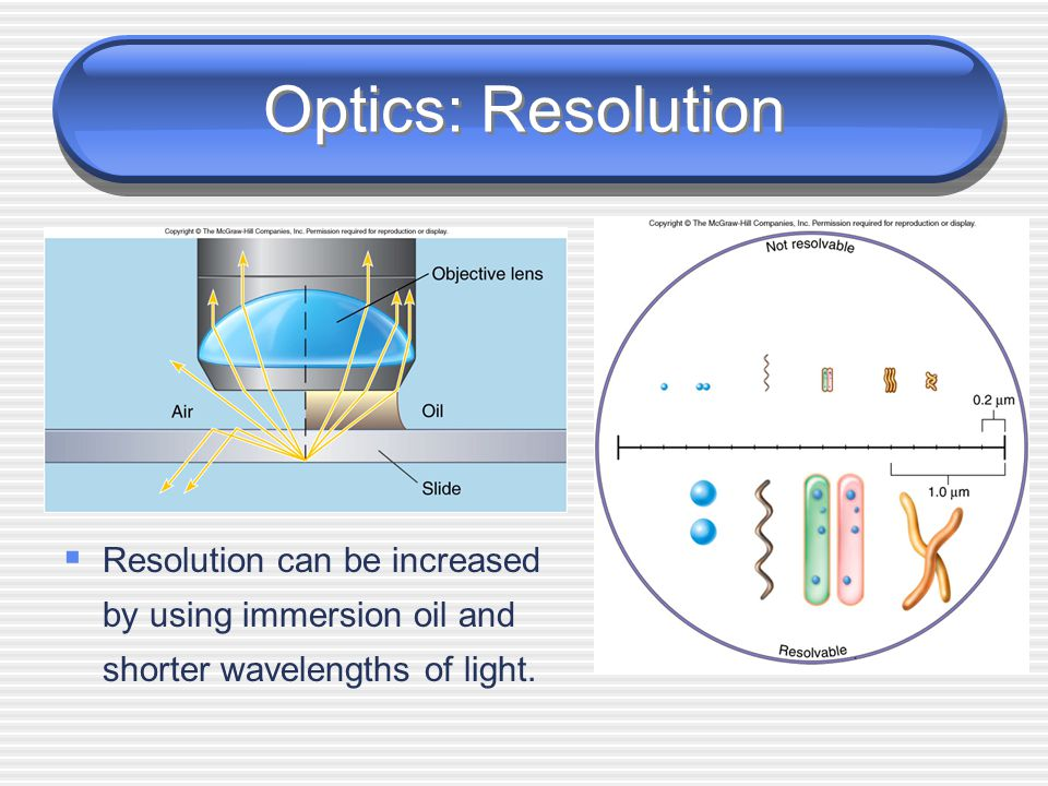 Optics: Resolution  Resolution is the ability of the lenses to distinguish two points.  A microscope with a resolving power of 0.2 um can distinguis