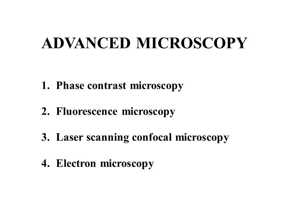 ADVANCED MICROSCOPY 1.Phase contrast microscopy 2.Fluorescence microscopy 3.Laser scanning confocal microscopy 4.Electron microscopy