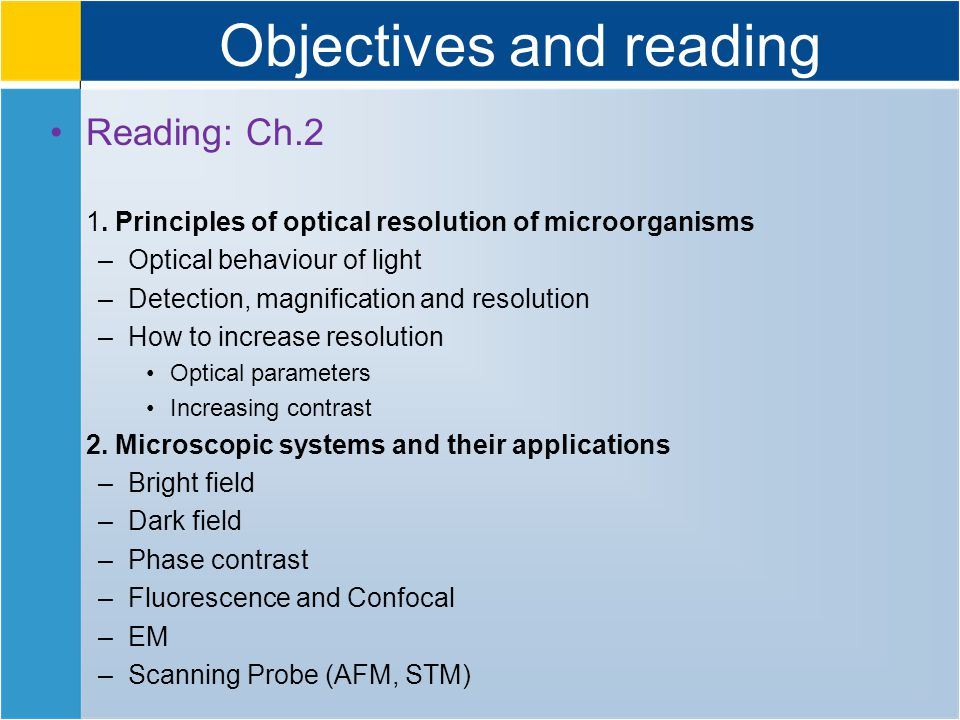 Objectives and reading Reading: Ch.2 1.