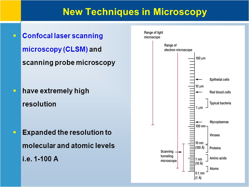 New Techniques in Microscopy  Confocal laser scanning microscopy (CLSM) and scanning probe microscopy  have extremely high resolution  Expanded the resolution to molecular and atomic levels i.e.