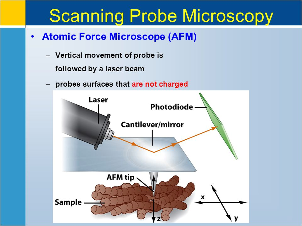 Scanning Probe Microscopy Atomic Force Microscope (AFM) –Vertical movement of probe is followed by a laser beam –probes surfaces that are not charged