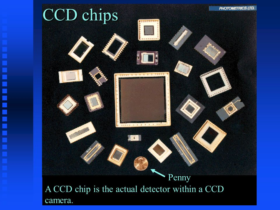 CCD chips Penny A CCD chip is the actual detector within a CCD camera.