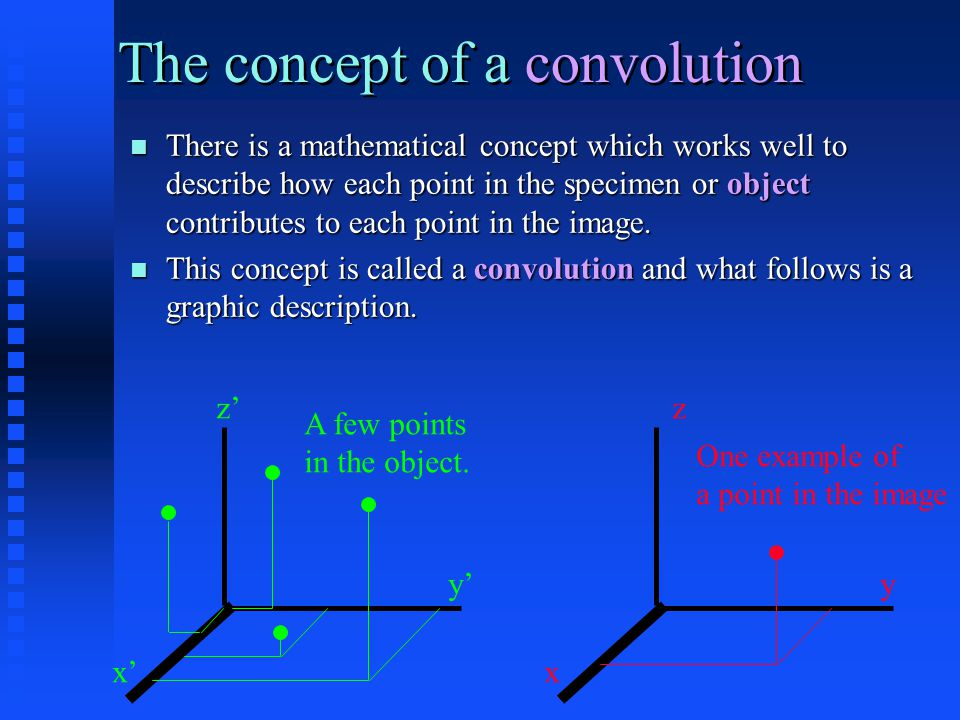 There is a mathematical concept which works well to describe how each point in the specimen or object contributes to each point in the image.