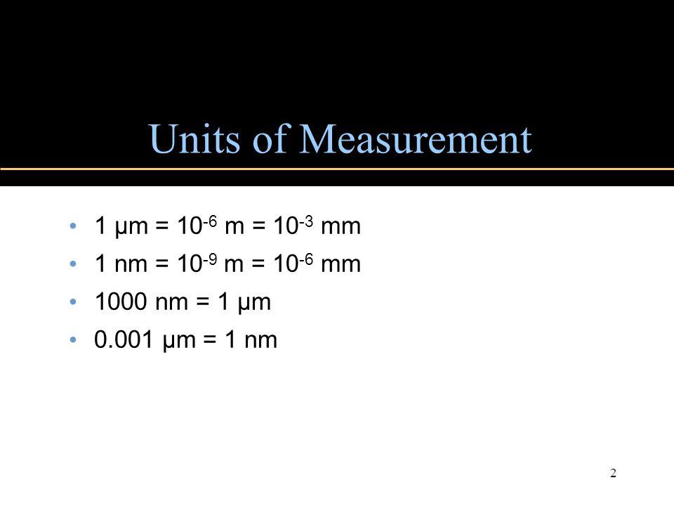 Copyright © 2004 Pearson Education, Inc., publishing as Benjamin Cummings 2 Units of Measurement 1 µm = 10 -6 m = 10 -3 mm 1 nm = 10 -9 m = 10 -6 mm 1000 nm = 1 µm 0.001 µm = 1 nm