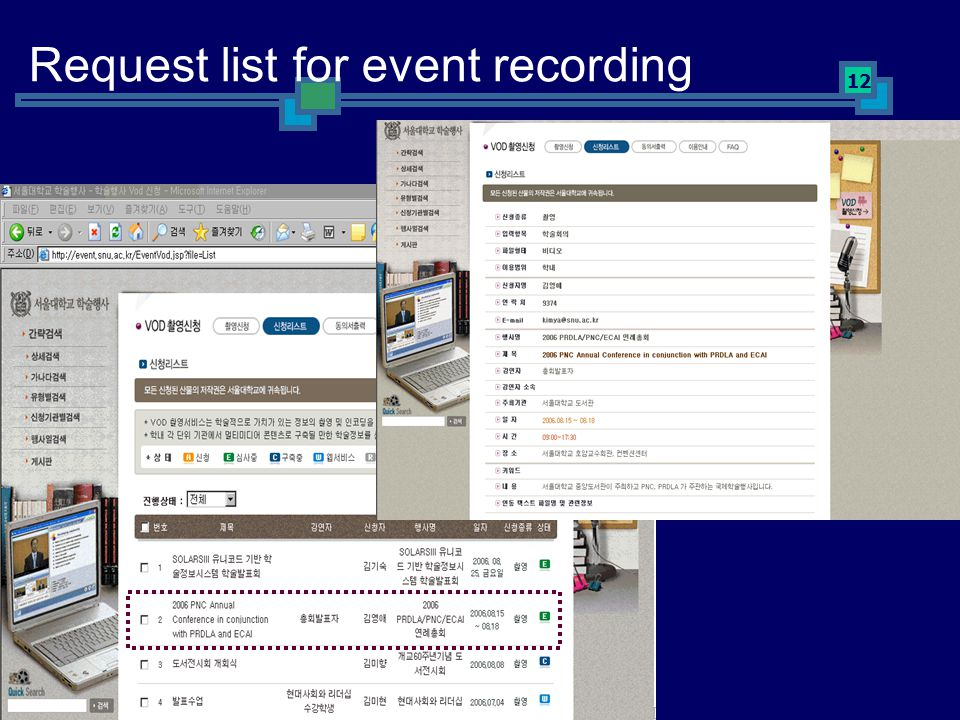 12 Request list for event recording
