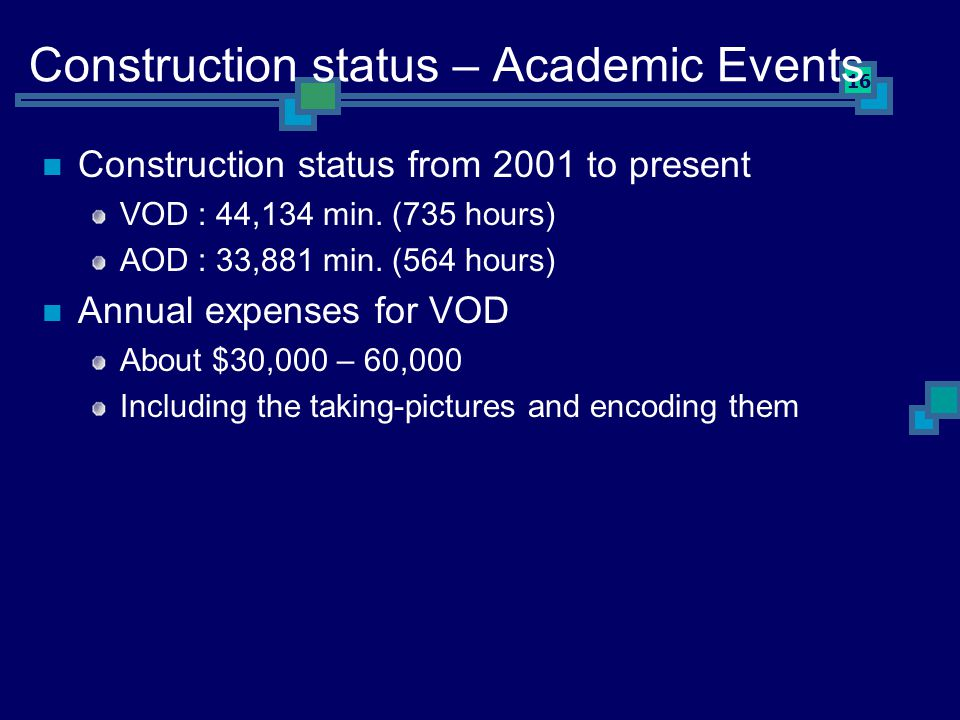 16 Construction status – Academic Events Construction status from 2001 to present VOD : 44,134 min.