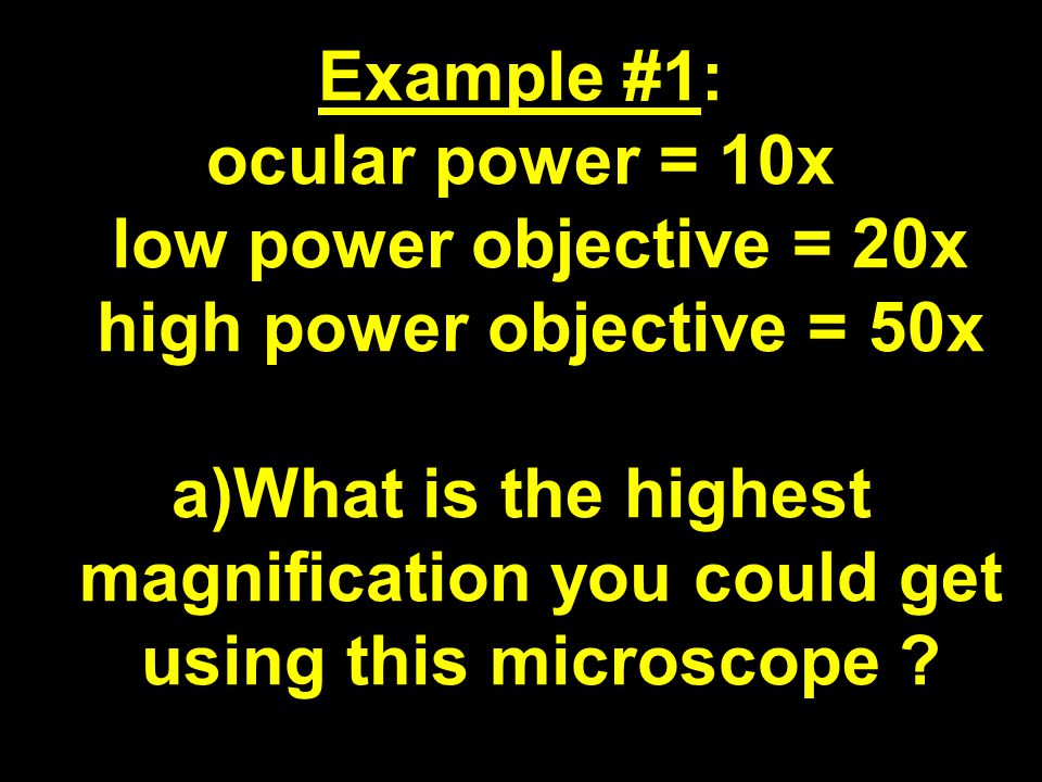 Example #1: ocular power = 10x low power objective = 20x high power objective = 50x a)What is the highest magnification you could get using this microscope