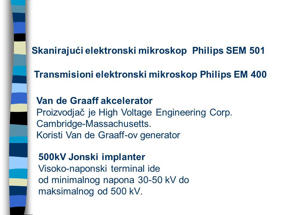 Skanirajući elektronski mikroskop Philips SEM 501 Transmisioni elektronski mikroskop Philips EM 400 Van de Graaff akcelerator Proizvodjač je High Voltage Engineering Corp.