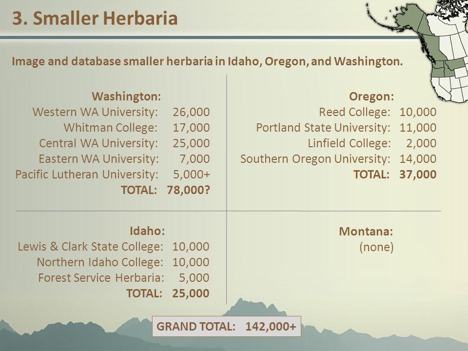 3. Smaller Herbaria Image and database smaller herbaria in Idaho, Oregon, and Washington.