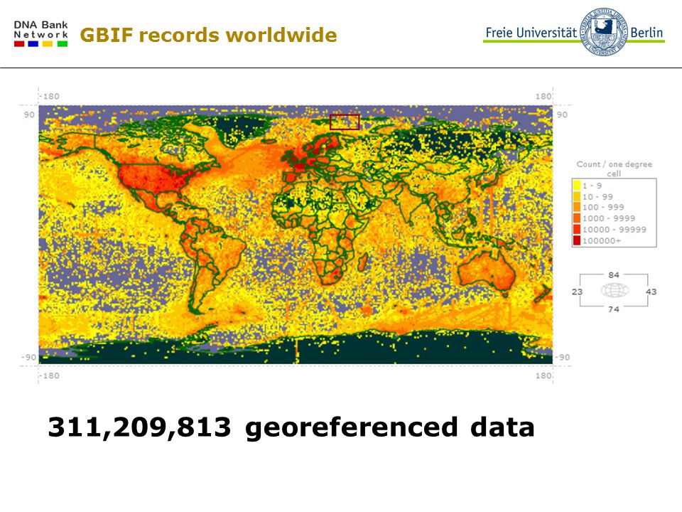 GBIF records worldwide 311,209,813 georeferenced data