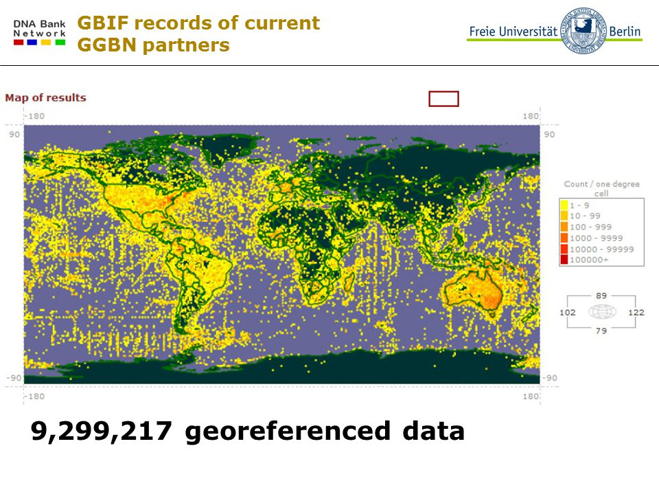 GBIF records of current GGBN partners 9,299,217 georeferenced data