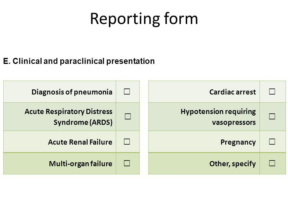 Reporting form E.