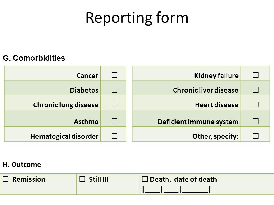 Reporting form G.