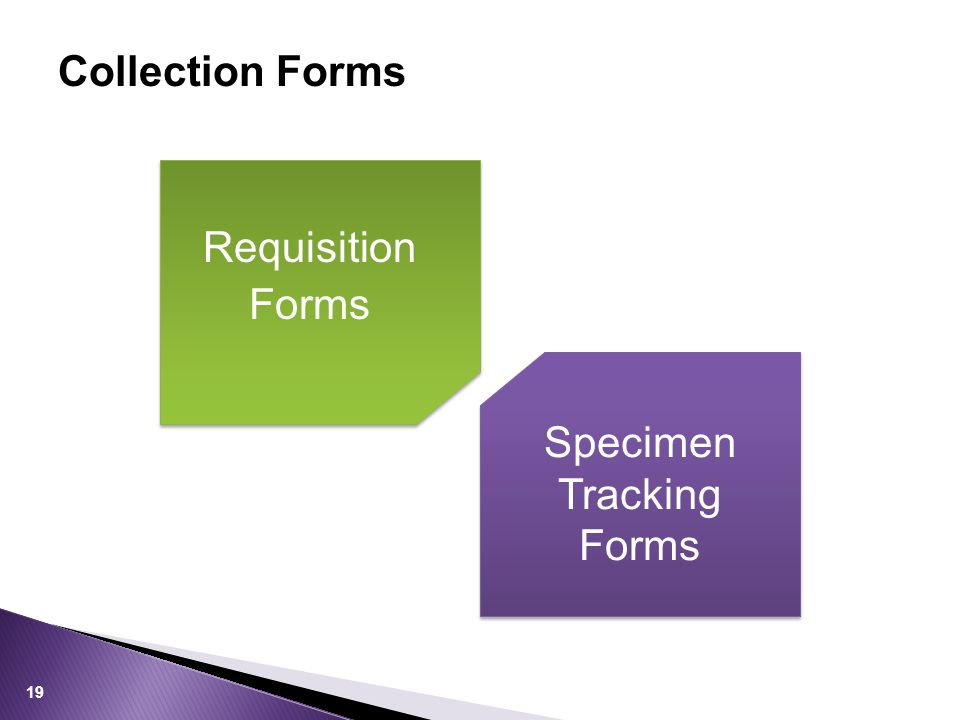 Collection Forms Requisition Forms Specimen Tracking Forms 19
