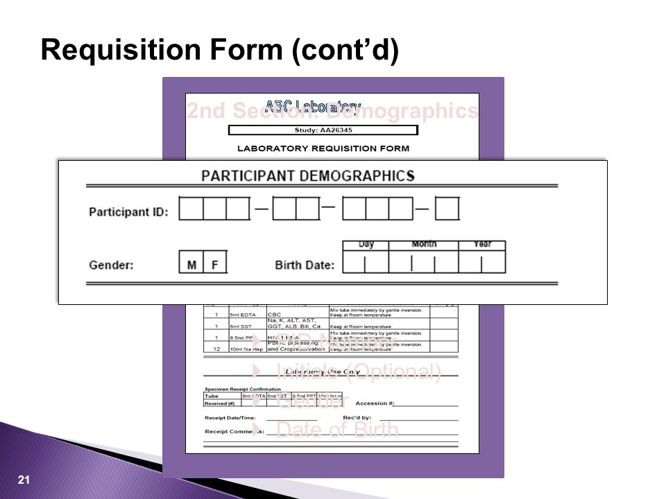 Requisition Form (cont'd) 2nd Section: Demographics  PID Number  Initials (Optional)  Gender  Date of Birth 21