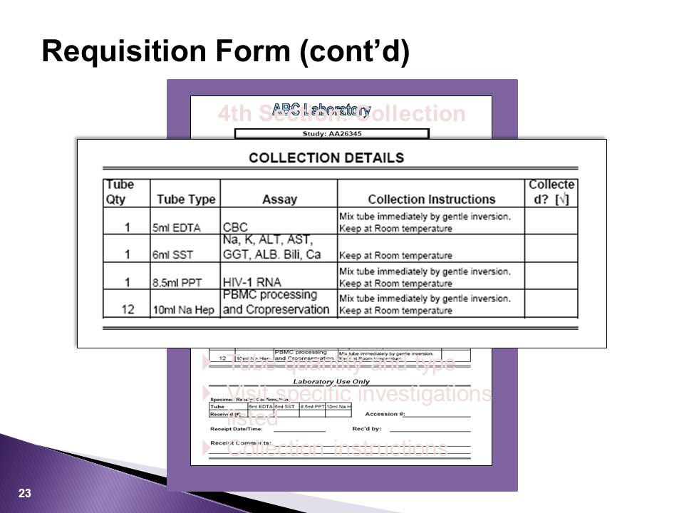 Requisition Form (cont'd) 4th Section: Collection  Tube quantity and type  Visit specific investigations listed  Collection instructions 23