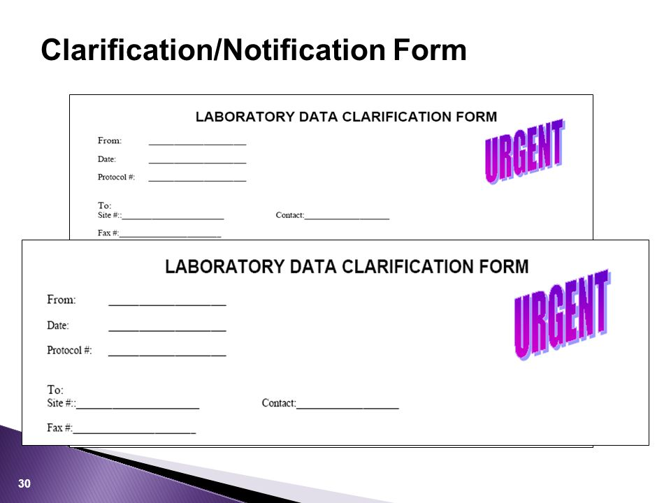Clarification/Notification Form 30