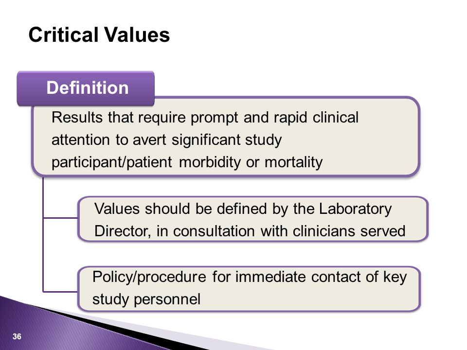 Definition Results that require prompt and rapid clinical attention to avert significant study participant/patient morbidity or mortality Values should be defined by the Laboratory Director, in consultation with clinicians served Policy/procedure for immediate contact of key study personnel Critical Values 36