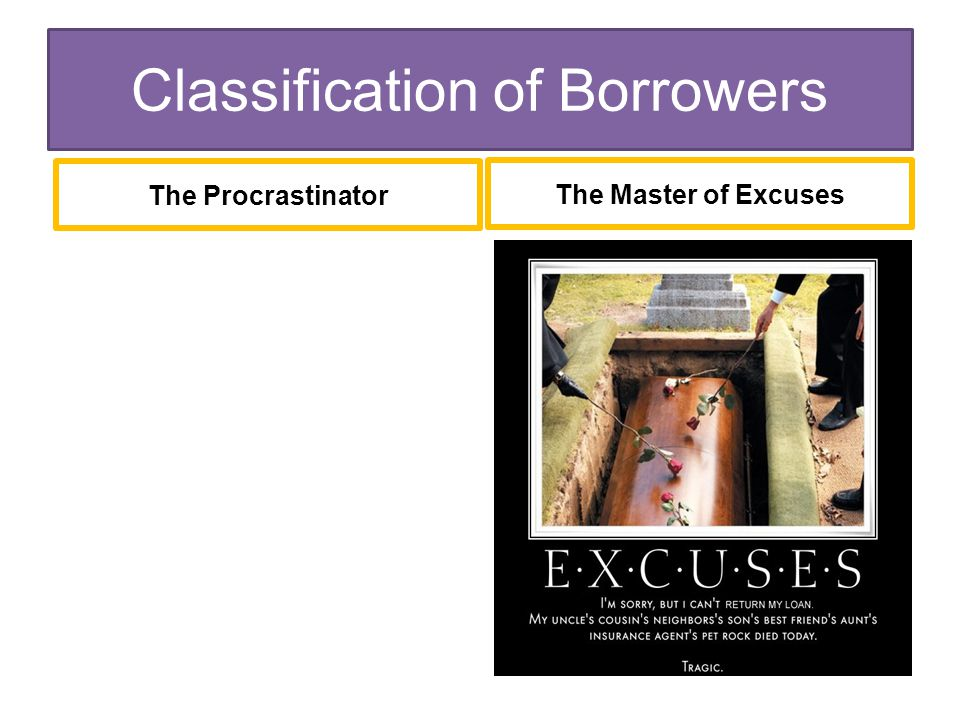 The Master of Excuses The Procrastinator Classification of Borrowers