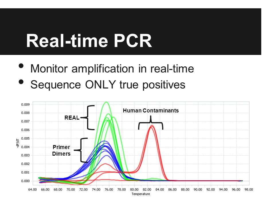 Real-time PCR Monitor amplification in real-time Sequence ONLY true positives REAL Primer Dimers Human Contaminants