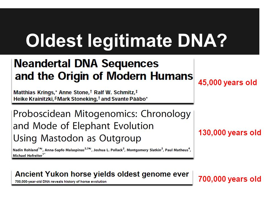 Oldest legitimate DNA 130,000 years old 45,000 years old 700,000 years old
