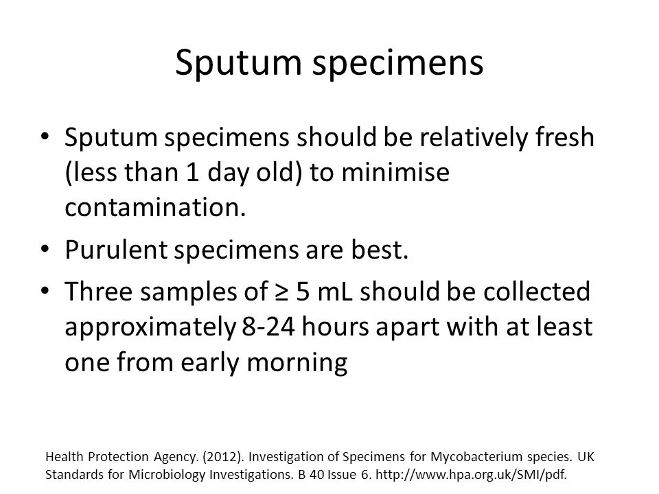 Sputum specimens Sputum specimens should be relatively fresh (less than 1 day old) to minimise contamination. Purulent specimens are best. Three sampl