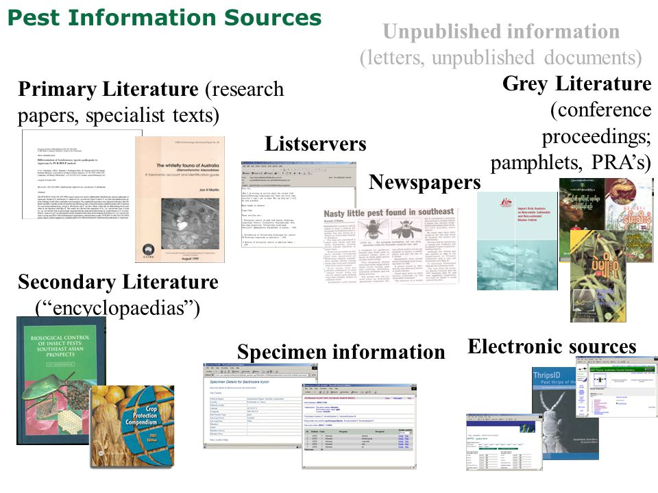 Pest Information Sources Primary Literature (research papers, specialist texts) Grey Literature (conference proceedings; pamphlets, PRA's) Secondary L