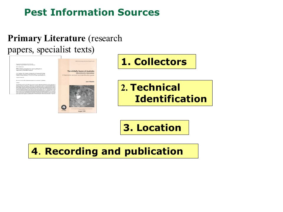 Pest Information Sources Primary Literature (research papers, specialist texts) 1.