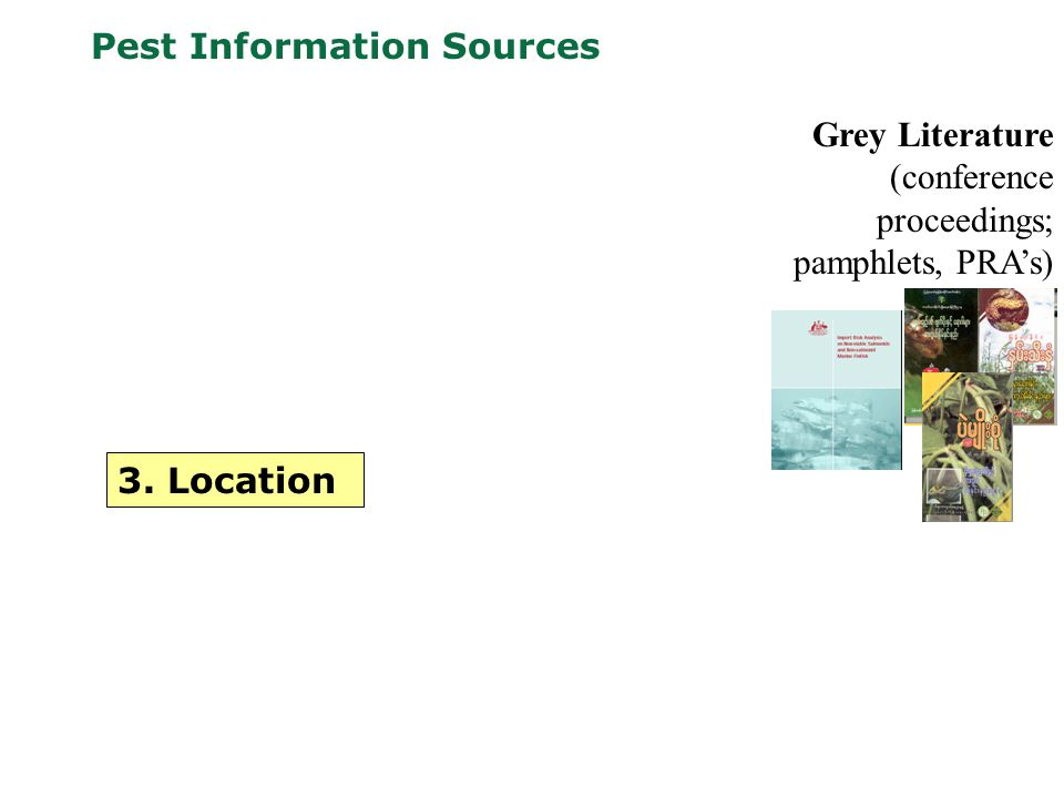 Pest Information Sources Grey Literature (conference proceedings; pamphlets, PRA's) 3. Location