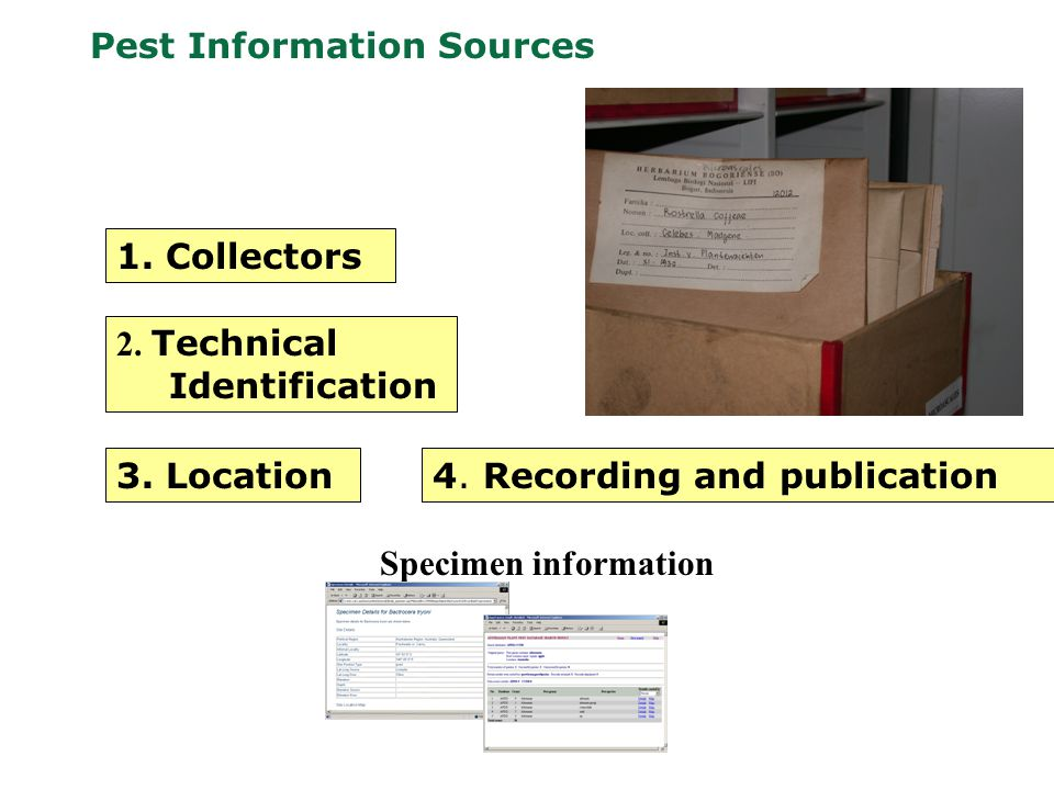 Pest Information Sources Specimen information 1. Collectors 2.