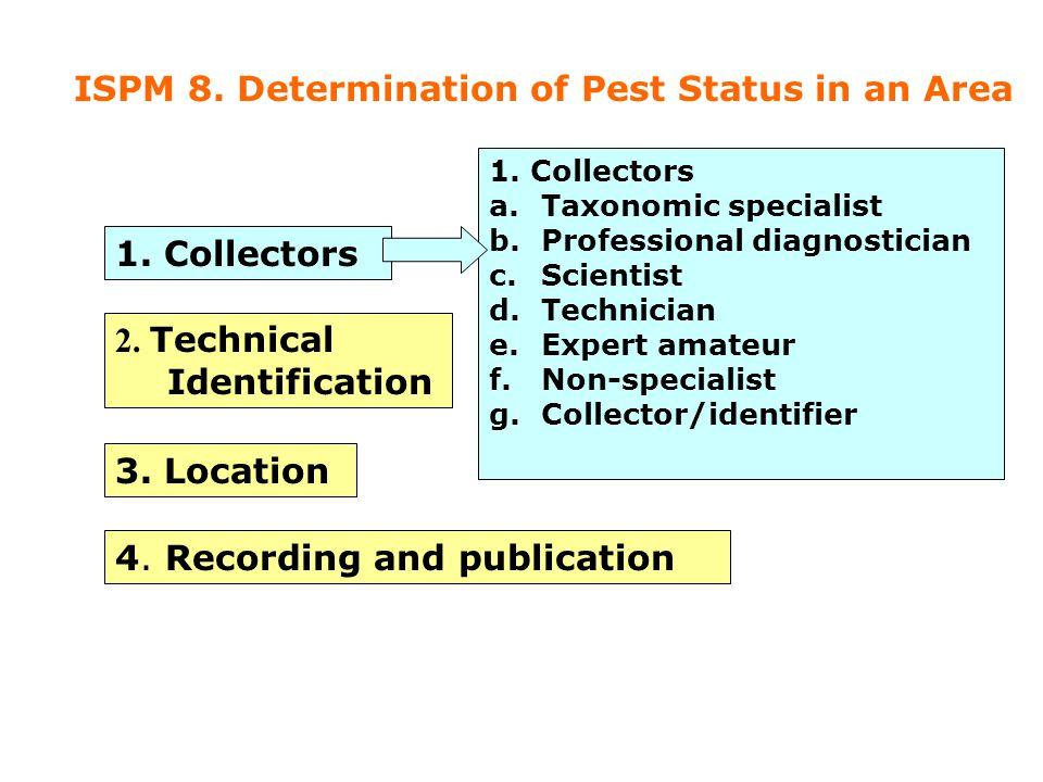 1. Collectors 2. Technical Identification 3. Location 4. Recording and publication 1. Collectors a.Taxonomic specialist b.Professional diagnostician c