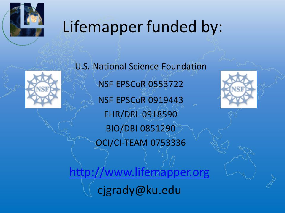 Lifemapper funded by: U.S.