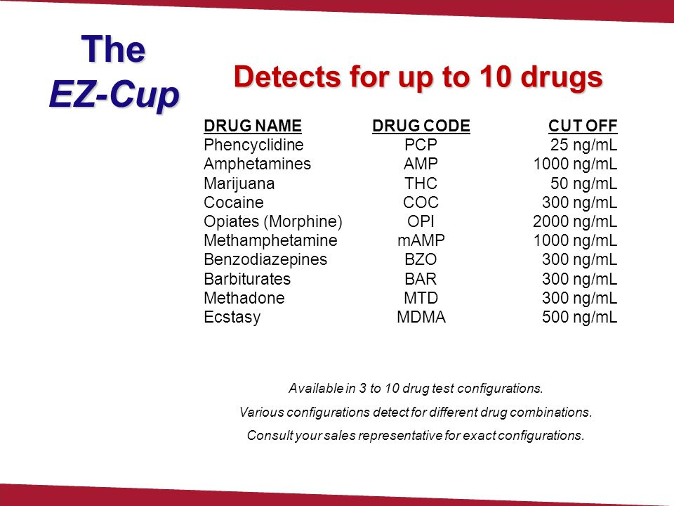 TheEZ-Cup Detects for up to 10 drugs DRUG NAME Phencyclidine Amphetamines Marijuana Cocaine Opiates (Morphine) Methamphetamine Benzodiazepines Barbiturates Methadone Ecstasy DRUG CODE PCP AMP THC COC OPI mAMP BZO BAR MTD MDMA CUT OFF 25 ng/mL 1000 ng/mL 50 ng/mL 300 ng/mL 2000 ng/mL 1000 ng/mL 300 ng/mL 500 ng/mL Available in 3 to 10 drug test configurations.
