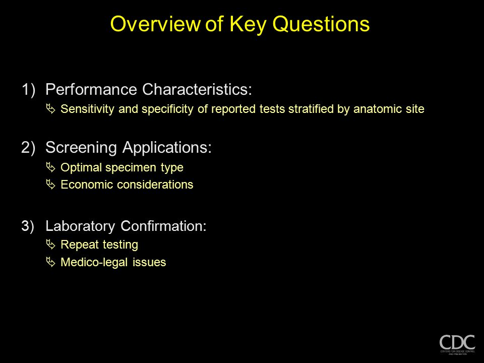 Overview of Key Questions 1)Performance Characteristics:  Sensitivity and specificity of reported tests stratified by anatomic site 2)Screening Appli
