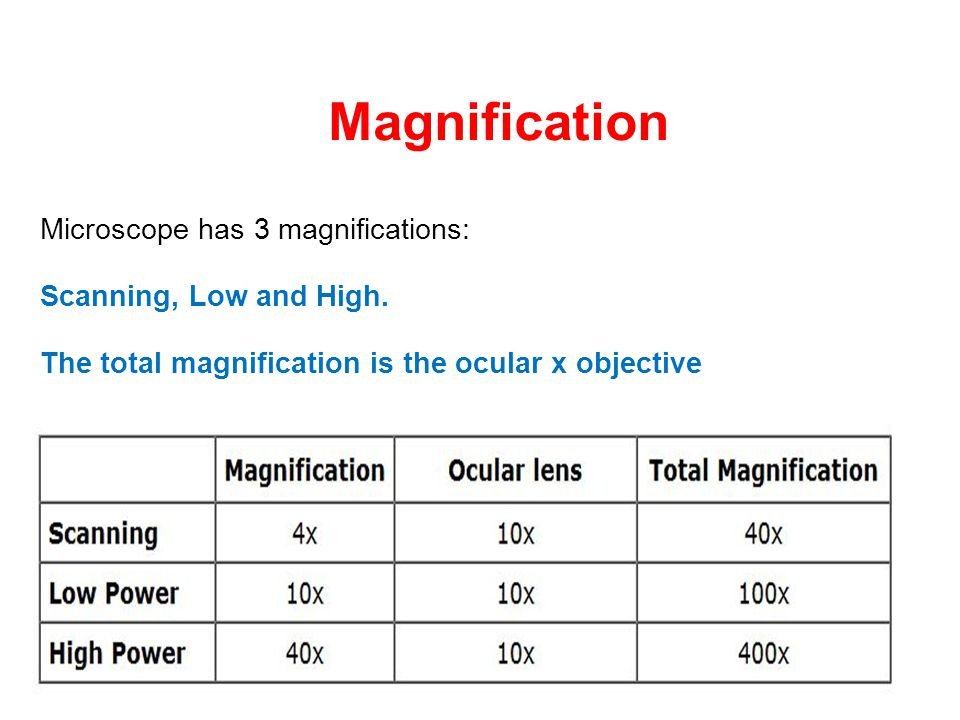 Magnification Microscope has 3 magnifications: Scanning, Low and High. The total magnification is the ocular x objective