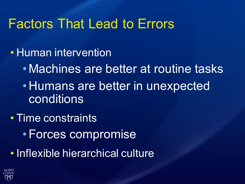 Factors That Lead to Errors Human intervention Machines are better at routine tasks Humans are better in unexpected conditions Time constraints Forces
