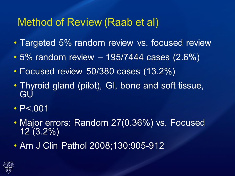 Method of Review (Raab et al) Targeted 5% random review vs. focused review 5% random review – 195/7444 cases (2.6%) Focused review 50/380 cases (13.2%