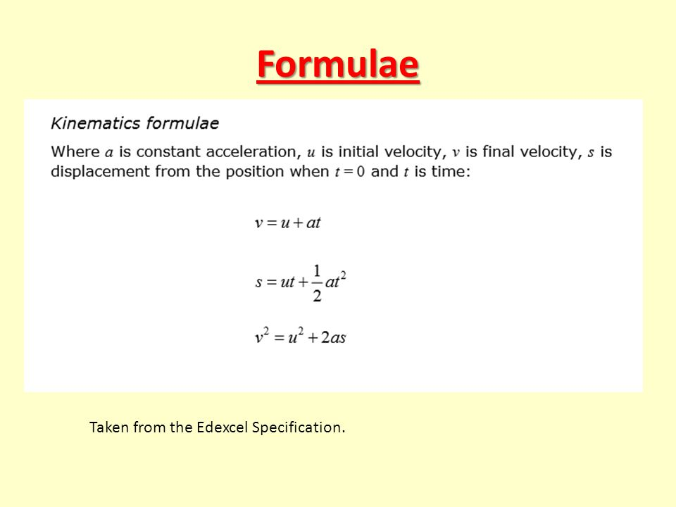 Formulae Taken from the Edexcel Specification.